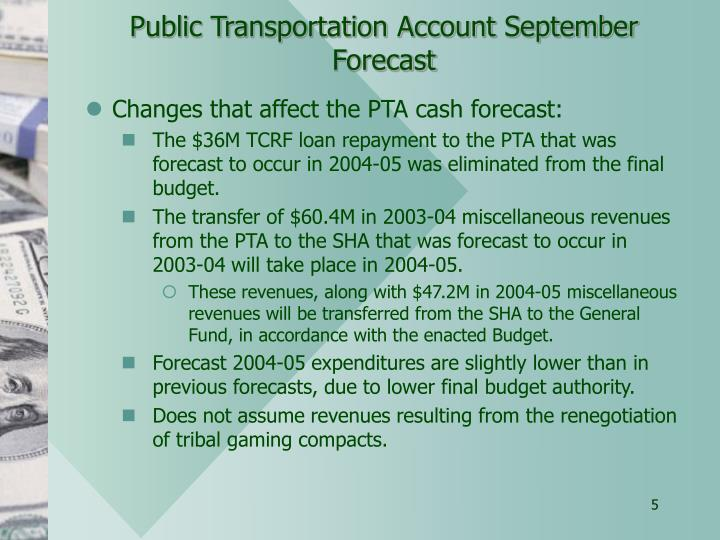Public Transportation Account September Forecast