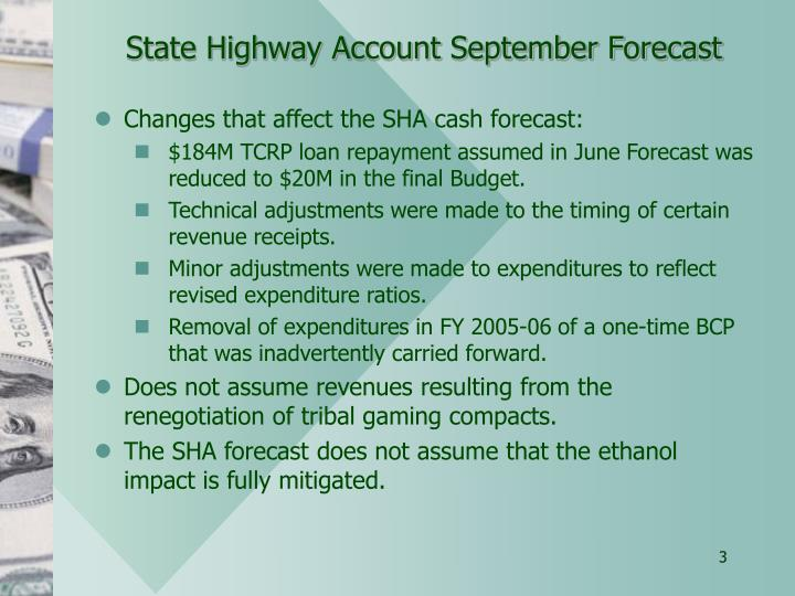 State Highway Account September Forecast