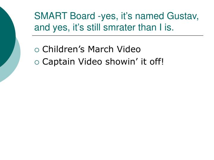 SMART Board -yes, it's named Gustav, and yes, it's still smrater than I is.