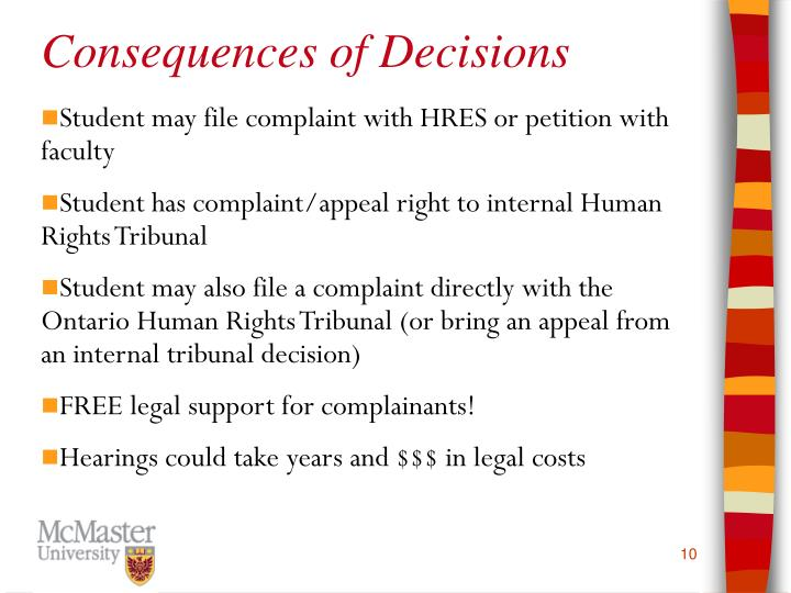 Consequences of Decisions
