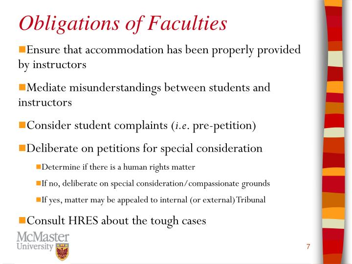 Obligations of Faculties