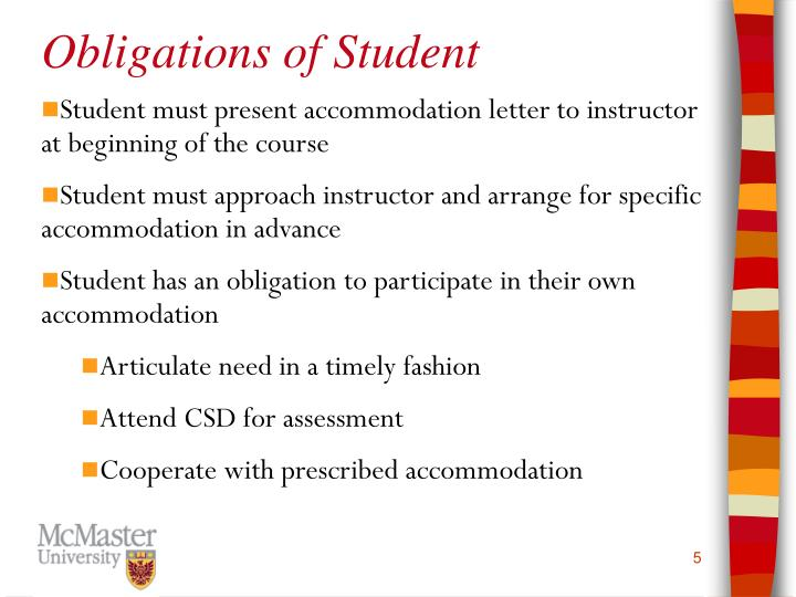 Obligations of Student