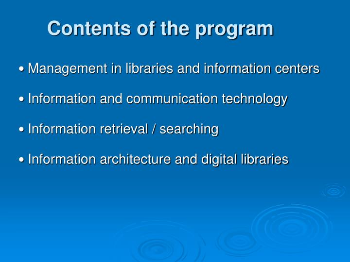 Contents of the program