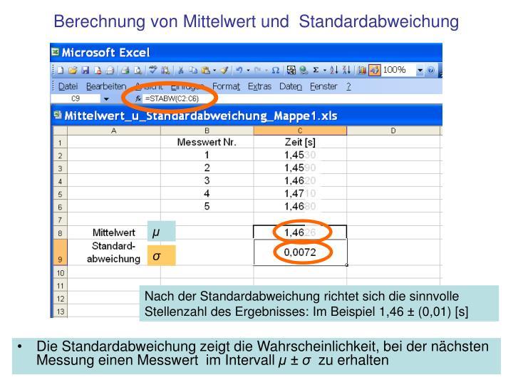 Berechnung von Mittelwert und  Standardabweichung