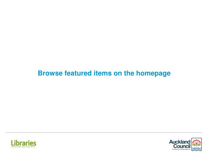 Browse featured items on the homepage