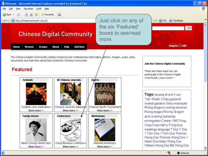 Just click on any of the six 'Featured' boxes to see/read  more.