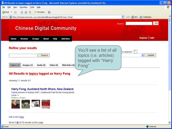 """You'll see a list of all topics (i.e. articles) tagged with """"Harry Fong"""""""