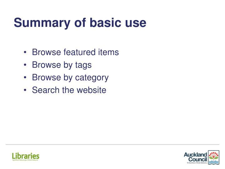 Summary of basic use