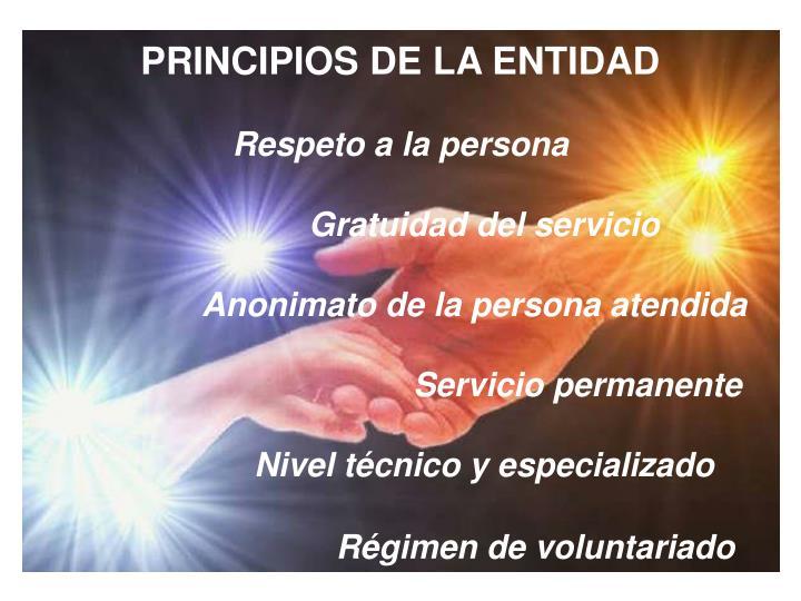 PRINCIPIOS DE LA ENTIDAD