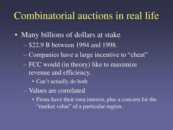Combinatorial auctions in real life