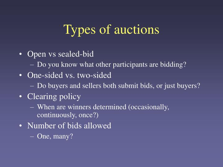 Types of auctions