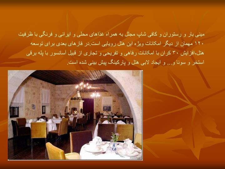 مینی بار و رستوران و کافی شاپ مجلل به همراه غذاهای محلی و ایرانی و فرنگی با ظرفیت