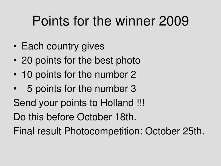 Points for the winner 2009