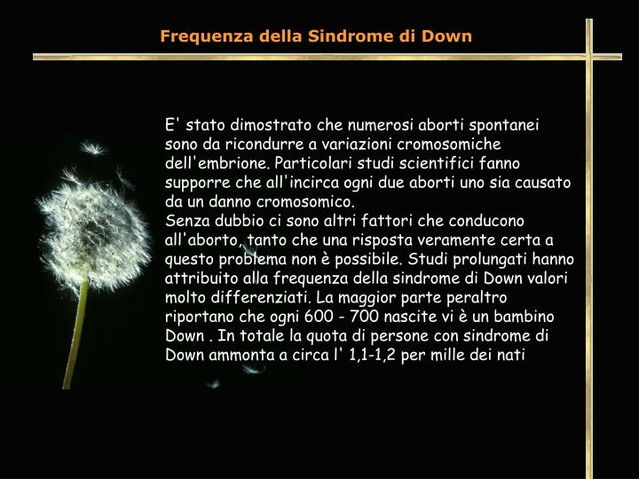 Frequenza della Sindrome di Down