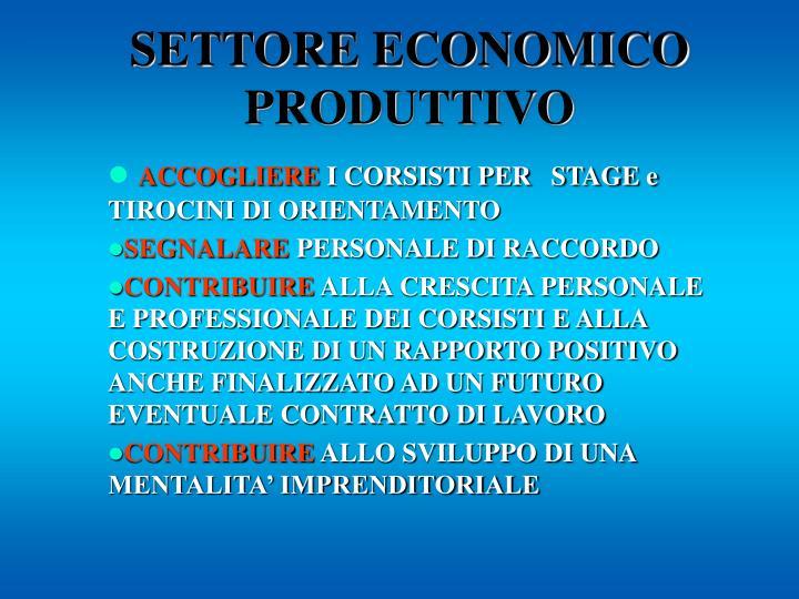 SETTORE ECONOMICO PRODUTTIVO