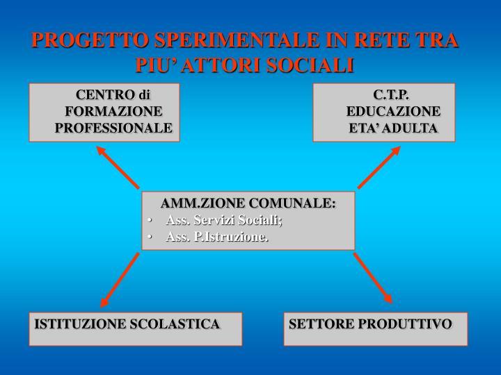 PROGETTO SPERIMENTALE IN RETE TRA  PIU' ATTORI SOCIALI
