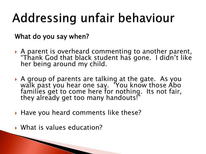 Addressing unfair