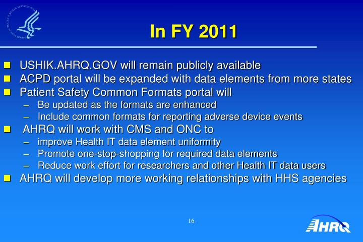 In FY 2011