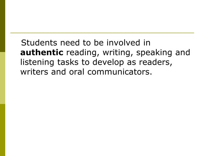 Students need to be involved in