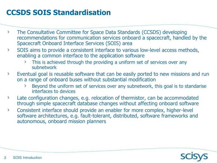 CCSDS SOIS Standardisation