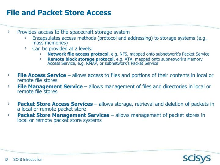 File and Packet Store Access