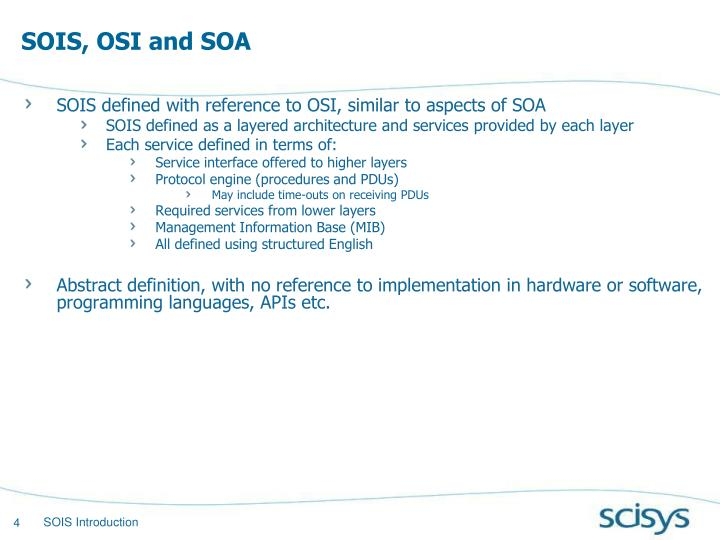 SOIS, OSI and SOA