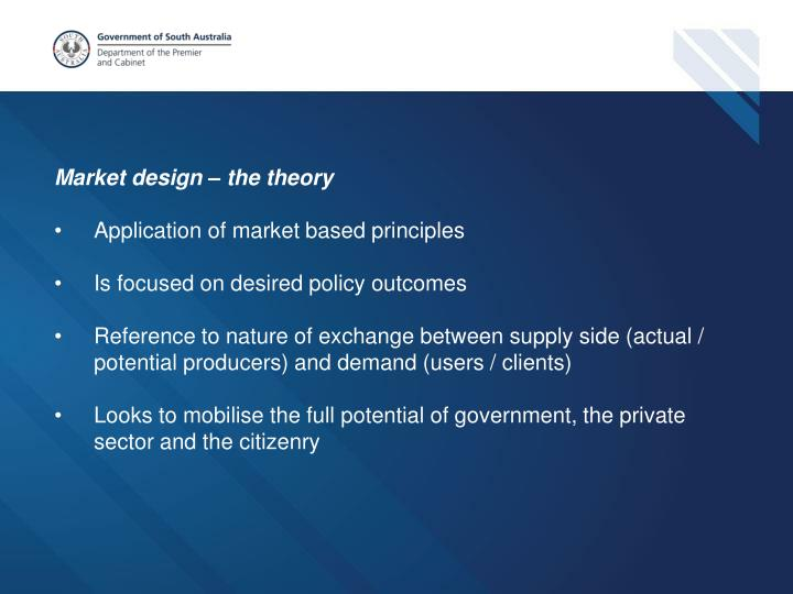 Market design – the theory