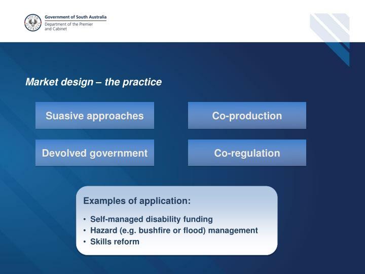 Market design – the practice