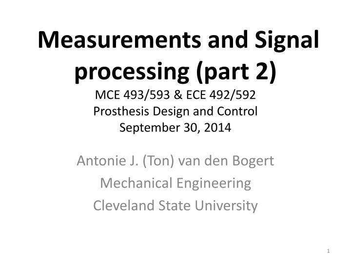 Measurements and Signal processing (part 2)