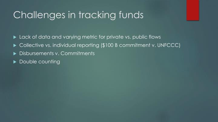 Challenges in tracking funds