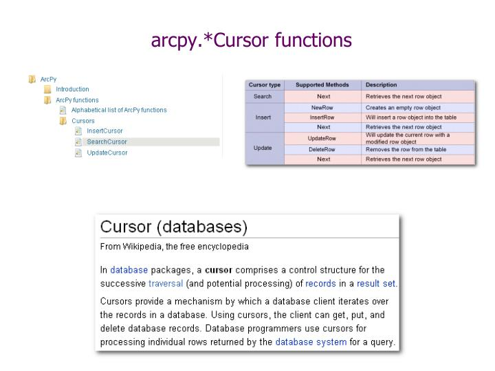 arcpy.*Cursor functions