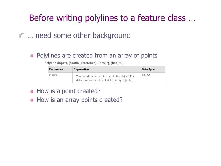 Before writing polylines to a feature class …