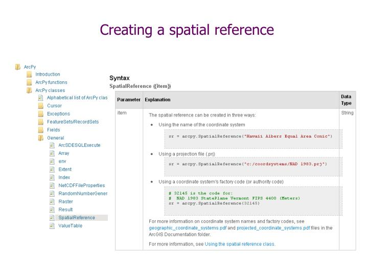 Creating a spatial reference