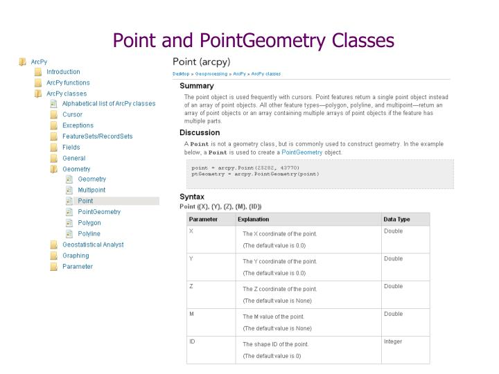 Point and PointGeometry Classes