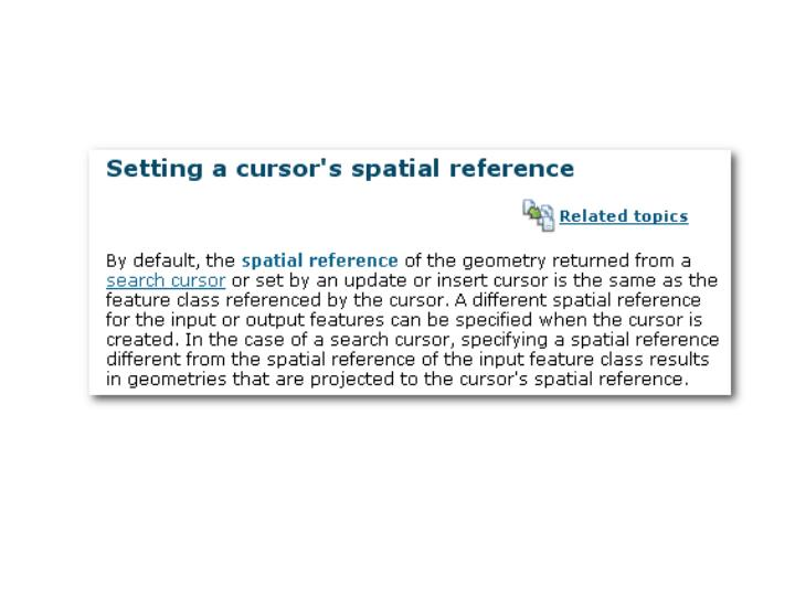 Spatial reference and cursors