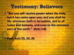 testimony believers