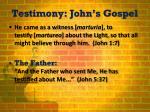 testimony john s gospel