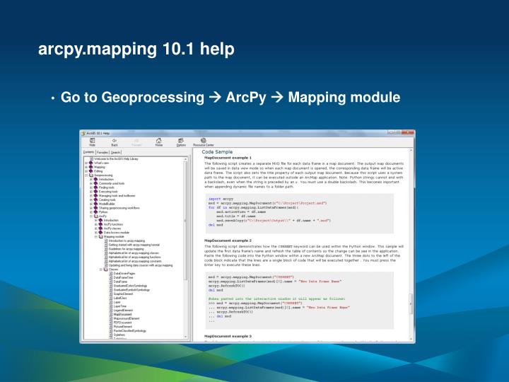 arcpy.mapping 10.1 help
