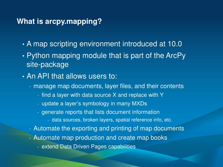 What is arcpy mapping