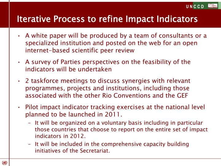 Iterative Process to refine Impact Indicators