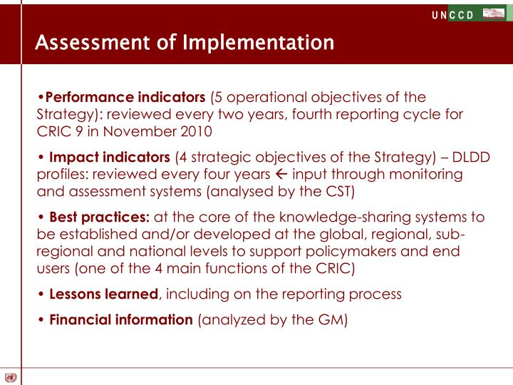 Assessment of Implementation