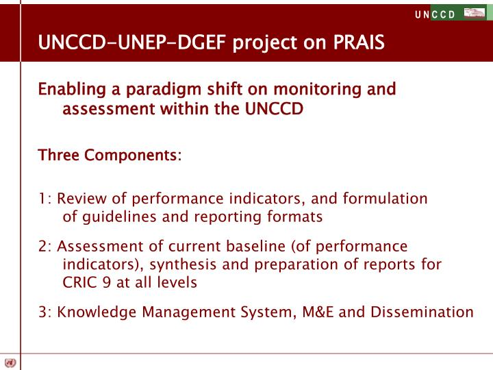 UNCCD-UNEP-DGEF project on PRAIS