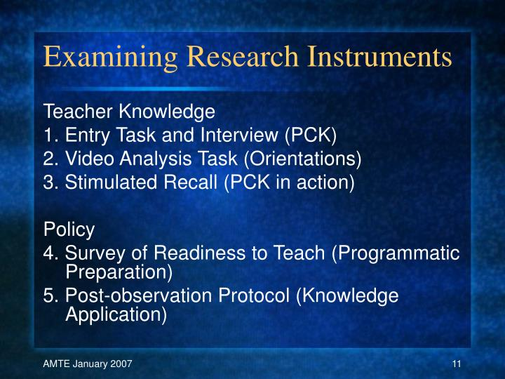 Examining Research Instruments