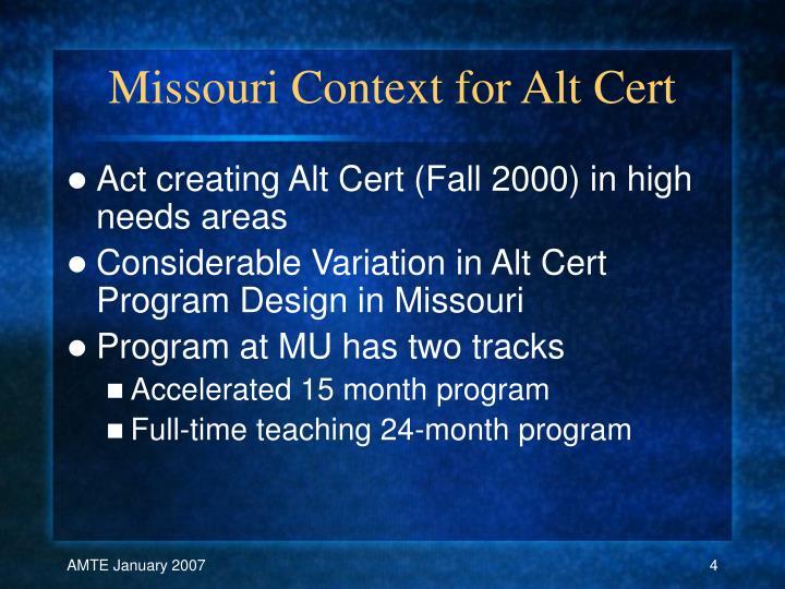 Missouri Context for Alt Cert