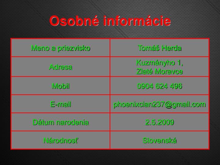 Osobné informácie