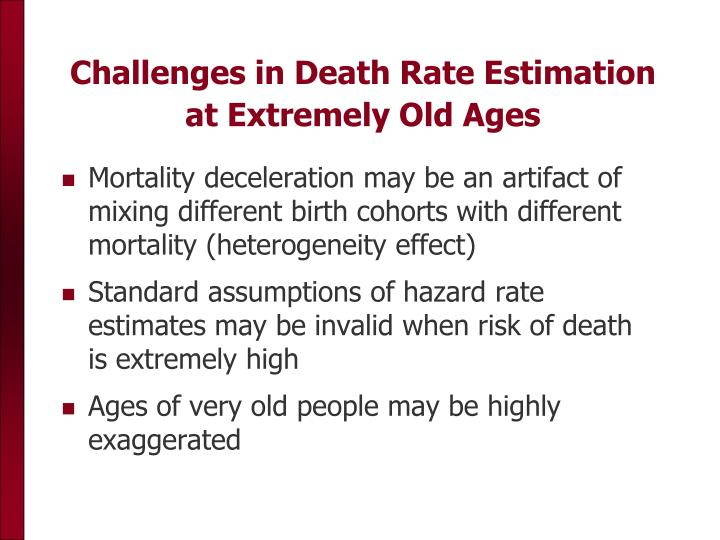 Challenges in Death Rate Estimation