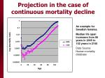 projection in the case of continuous mortality decline