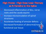 high power high dose laser therapy as it pertains to the spine