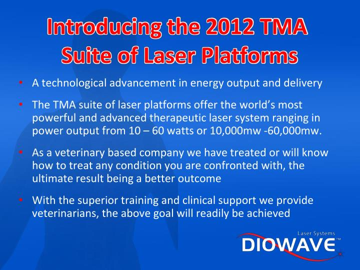 Introducing the 2012 TMA