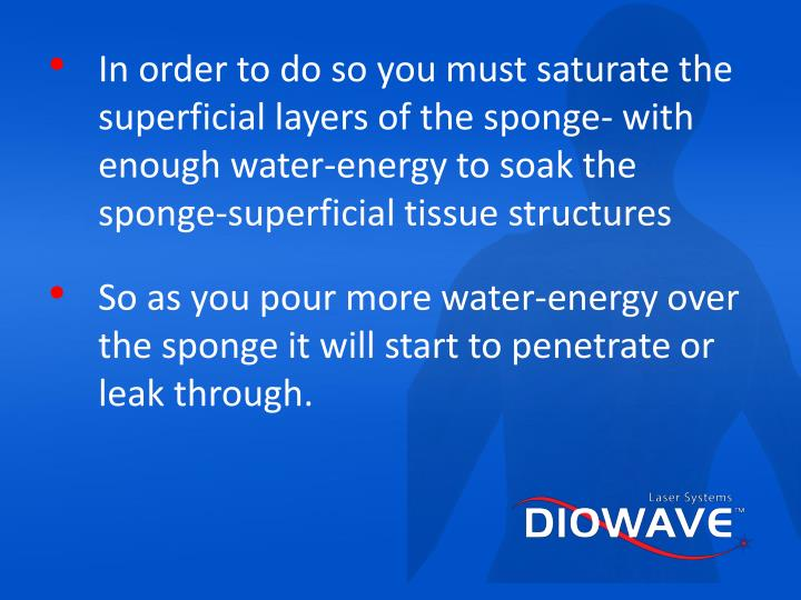 In order to do so you must saturate the superficial layers of the sponge- with enough water-energy to soak the sponge-superficial tissue